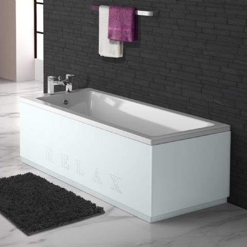 High Gloss Silver Engraved 2 Piece adjustable Bath Panels